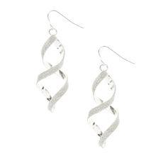 Silver Glitter Spiral Drop Earrings