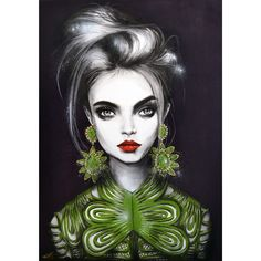 'Queen Cara', 700 x 100mm, acrylic, charcoal, paint-pens and spray paint on canvas. #NotForSale @caradelevingne