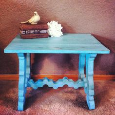 Turquoise table chalk paint refurb
