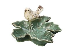 Creative Co-op Ceramic Leaf Dish with Bird, Green * You can find more details by visiting the image link.
