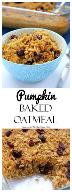 This Pumpkin Baked Oatmeal is a great way to start your day! It keeps great in the fridge for up to a week making for a very quick and energy-boosting breakfast! Baked Pumpkin Oatmeal, Baked Oatmeal Recipes, Pumpkin Spice Syrup, Yummy Food, Delicious Recipes, Food Words, Fall Recipes, Breakfast Recipes, Baking