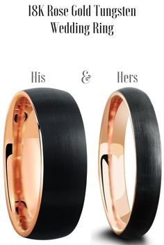 His and Hers matching wedding band set. This tungsten wedding ring set is crafted out of tungsten carbide with 18k rose gold interior. We also designed the top with a brushed textured top.