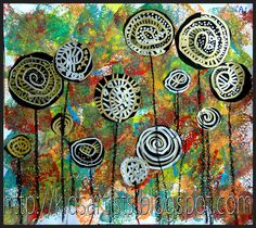 Hundertwasser-inspired lollipop trees. Need: white paper, black paper, sponges, round shapes to trace, paint, silver and gold markers, black oil pastel.