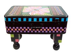 Hand Painted Vintage Suitcase Table