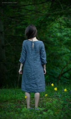 Grey Linen Trapeze Dress by KnockKnockLinen on Etsy