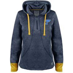 Women's Old Time Hockey St. Louis Blues Annabelle Quarter-Zip Hoodie (105 CAD) ❤ liked on Polyvore featuring tops, hoodies, blue, sweatshirt hoodies, hooded sweatshirt, long sleeve hooded sweatshirt, blue hoodie and quarter zip hoodie