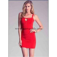 Herve Leger Red Halter Keyhole Sleeveless Bandage Dress HL8424R