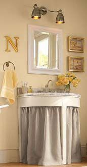 Small apartment decorations Designing Domesticity: Skirting a Footed Sink, a Pottery Barn knock-off Bathroom Sink Skirt, Bathroom Storage, Utility Sink Skirt, Deck Cleaner, Water Beads, Small Apartment Decorating, Wood Surface, Mold And Mildew, Small Apartments