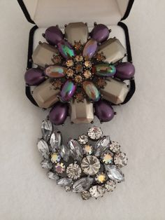 A personal favorite from my Etsy shop https://www.etsy.com/listing/229801709/two-stunning-colorful-rhinestone-lucite