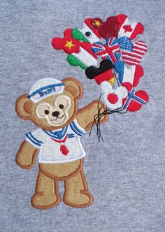 Doffy Bear International balloons appliqued t-shirt