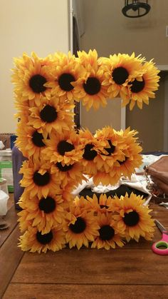 Paper machete letter with sunflowers - Sunflower birthday parties, Sunflower party, Sunflower baby showers, Wedding decorations, Sunflower - Sunflower Room, Sunflower Party, Sunflower Baby Showers, Sunflower Gifts, Sunflower Bathroom, Sunflower Nursery, Sunflower Cupcakes, Sunflower Kitchen, Sunflower Wedding Themes