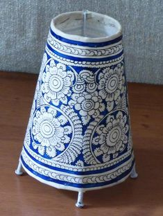 Andhra Leather Craft - Painted Standing Lamp, Small - The India Craft House India Crafts, Home Crafts, Arts And Crafts, Kalamkari Painting, Madhubani Painting, Painting Lamp Shades, Mural Painting, Alpona Design, Handmade Lampshades