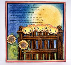 Five little pumpkins sitting on a gate. by jknath - Cards and Paper Crafts at Splitcoaststampers