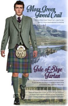 isle of Skye Kilt and moss green tweed jacket