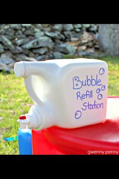 12 cups water, 1 cup dish soap,  1 cup cornstarch, 2 tbsp baking powder...go make bubbles!