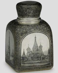 Russian silver 040 niello tea caddy, Ovchinnikov.