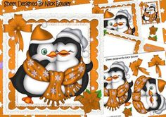 Cute cuddle penguins with orange stars and bow 8x8 mini kit on Craftsuprint - Add To Basket!