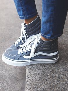 Top Sneaker Timelessly classic Vans sneakers, featuring a high-top silhouette, lace-up closure and sturdy rubber sole for an ultra-comfortable wear. Sock Shoes, Cute Shoes, Women's Shoes, Me Too Shoes, Shoe Boots, Shoes Sneakers, Flat Shoes, Vans Boots, Cute Vans