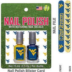 West Virginia Nail Polish Team Colors with Nail Decals & Nail File