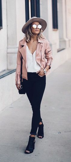 Womens fashion fall style fashion outfit street style blush jacket hat heels Instagram: /joandkemp/