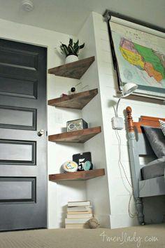 13 ideas for simple living room shelves DIY projects, ., 13 ideas for simple living room shelves DIY projects, Floating Corner Shelves, Corner Shelving, Glass Shelves, Wood Shelves, Corner Storage, Dyi Bookshelves, Hallway Shelving, Kids Wall Shelves, Staircase Shelves