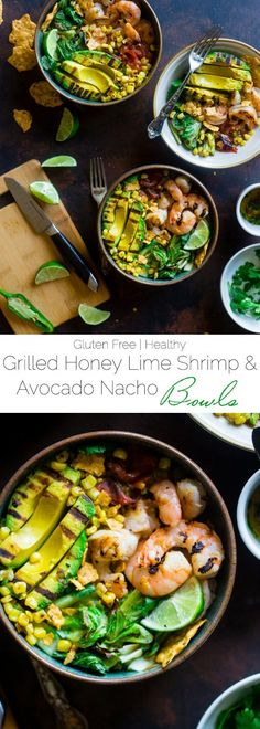Honey Lime Grilled Avocado Shrimp Nacho Bowls - These smoky-sweet bowls have glazed honey lime grilled avocado, spicy shrimp. tomato and corn! Top them with gluten free nacho chips for a healthy, summer meal that's packed with flavor! | http://Foodfaithfitness.com | /FoodFaithFit/