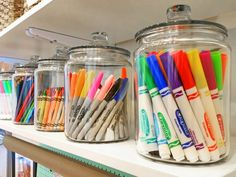 Keep that playroom or craft room organized with simple glass jars for art suppli. - Keep that playroom or craft room organized with simple glass jars for art supplies. Keeps them tidy - Organisation Hacks, Playroom Organization, Organized Playroom, Organizing Art Supplies, Kid Playroom, Organizing Kids Toys, Organization Ideas For Bedrooms, Office Storage Ideas, Organization Ideas For The Home