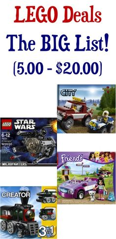 $5.00 - $20.00 LEGO Deals, The BIG List!  - score some deals on LEGOS and stash away some fun gifts!