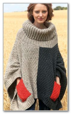 Knitting.  Two tone rectangular poncho with pockets and large collar golf.  The size of a single http://crochet.klubok-info.ru/model_for_women_poncho_45.html