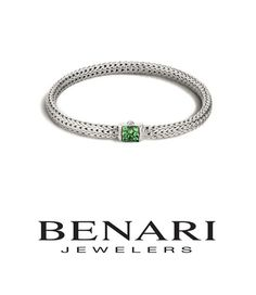 John Hardy Women's Classic Chain Silver Lava Extra Small Bracelet 4.7mm with Tsavorite