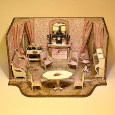 Outstanding French Miniature Furnished Room with Original Furnishings in Superb Condition - Attributed to Choumer  Collet.