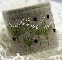 Items similar to Fabric Cuff Textile Bracelet Wrist Hand Embroidery Queen Annes Lace Botanical on Etsy Fabric Bracelets, Embroidery Bracelets, Wire Bracelets, Beaded Necklaces, Textile Jewelry, Fabric Jewelry, Jewellery, Fabric Beads, Felt Fabric
