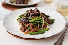 Tenderloin Tips & Asparagus Saute with Garlic Rice
