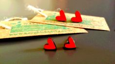 Love Heart Earrings. Lasercut and handmade upcycled wooden jewellery, large and small. by BoughtoBeauty on Etsy