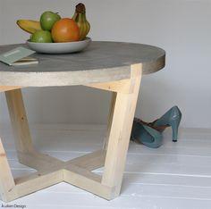 Design salontafel stolik van beton en hout, gemaakt door Kuiken Design