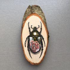 Kleine hout segment met een originele tekening van door Inkspirednl