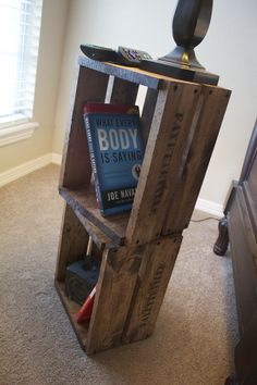 I had seen this a while back and it always come to my mind when I think that somewhere needs a good side table. 'old' wood crate end table w customizable side lettering. #DIY #distressed