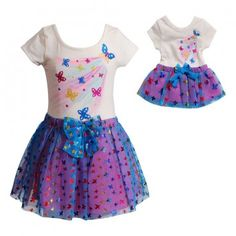Blue Butterfly Dance Set with Matching Outfit for 18 inch Play Doll