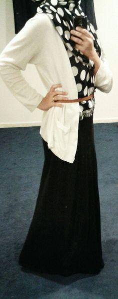 Fashion & Style Fusion blog, #ootd #hootd #modest #outfit #fashion #style #scarf #polkadots #dots #black #white #brown #belt #maxidress #maxiskirt #cardigan #offwhite #flipflops #summer