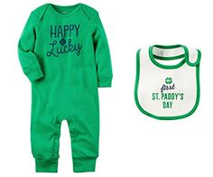 Carters Boys or Girls Babys First St Patricks Day Romper Jumpsuit and Bib Set Newborn Green Happy Lucky *** You can figure out more information at the web link of the image. (This is an affiliate link). Little Boy Outfits, Baby Boy Outfits, Kids Outfits, Baby Boy Or Girl, Kids Fashion Boy, Cute Baby Clothes, Babys, Jumpsuit, Rompers