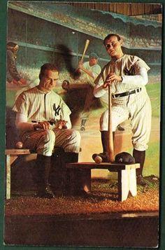 Lou Gehrig & Babe Ruth 1960s Baseball Chrome Wax Statues 10582-C