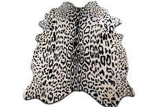 Jaguar Print Cowhide Rug Size: around 7' X 6' by Cowhidesusa