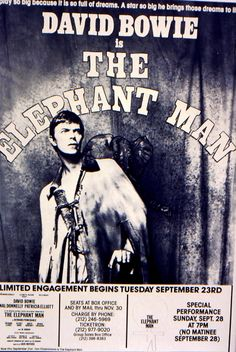 NYC September 1980. Poster at The Booth Theatre, The Elephant Man with David Bowie.