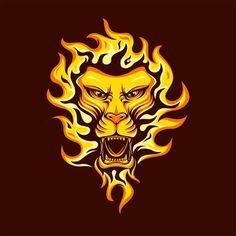 'Fire lion' by Lion Clipart, Lion Vector, Vector Art, Lion Background, Blue Background Images, Lion Head Logo, Lion Head Tattoos, Fire Lion, Chinese Lion Dance