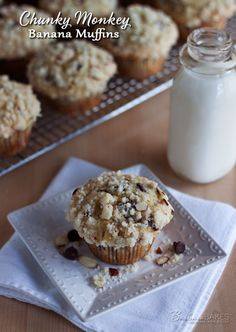 Chunky Monkey Banana Muffins from @Barbara Schieving {Barbara Bakes}