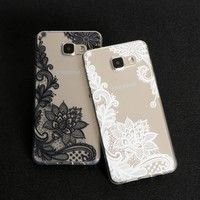 Floral Sexy Lace Mandala Vintage Flower Clear Cover Capa Back For Samsung Galaxy S3 S4 S5 S6 S7 Edge