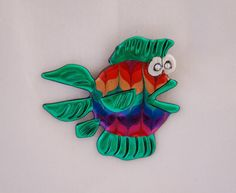 Green Fish Pin  friendly plastic fish brooch by JustPlainJane