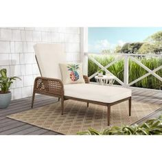 Hampton Bay Laurel Oaks Brown Steel Outdoor Patio Chaise Lounge with Sunbrella Beige Tan Cushions-H102-01574700 - The Home Depot Navy Blue Cushions, Turquoise Cushions, Green Cushions, Patio Chaise Lounge, Outdoor Furniture Sets, Sunroom, Wicker, Rattan, Coral