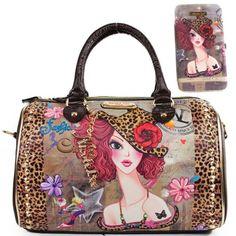 Nicole Lee Usa Sunny Muneca Graphic Print Boston Handbag Wallet Set New Handbags