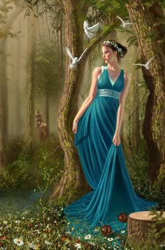 Persephone - Goddess of Spring time  She is married to Hades, and is the daughter of Zeus and Demeter